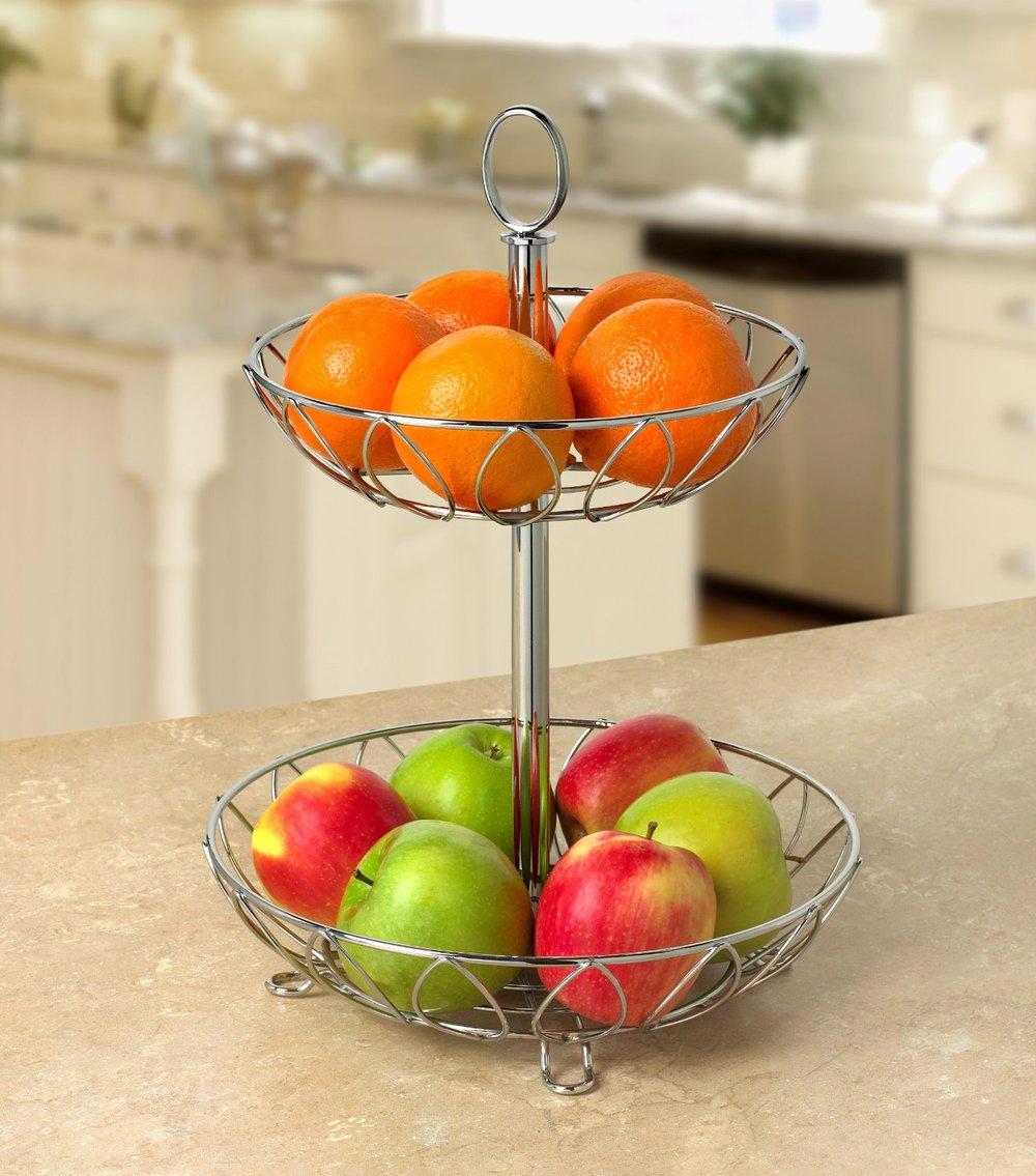 bella 2 tier cesto di frutta decorazione in metallo regalo di nozze
