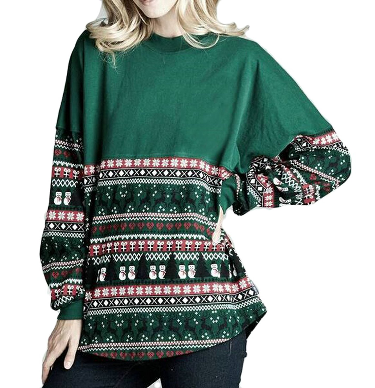 ONTBYB Womens Casual Loose Colorblock Christmas Print Pullover Round Neck Sweatshirt