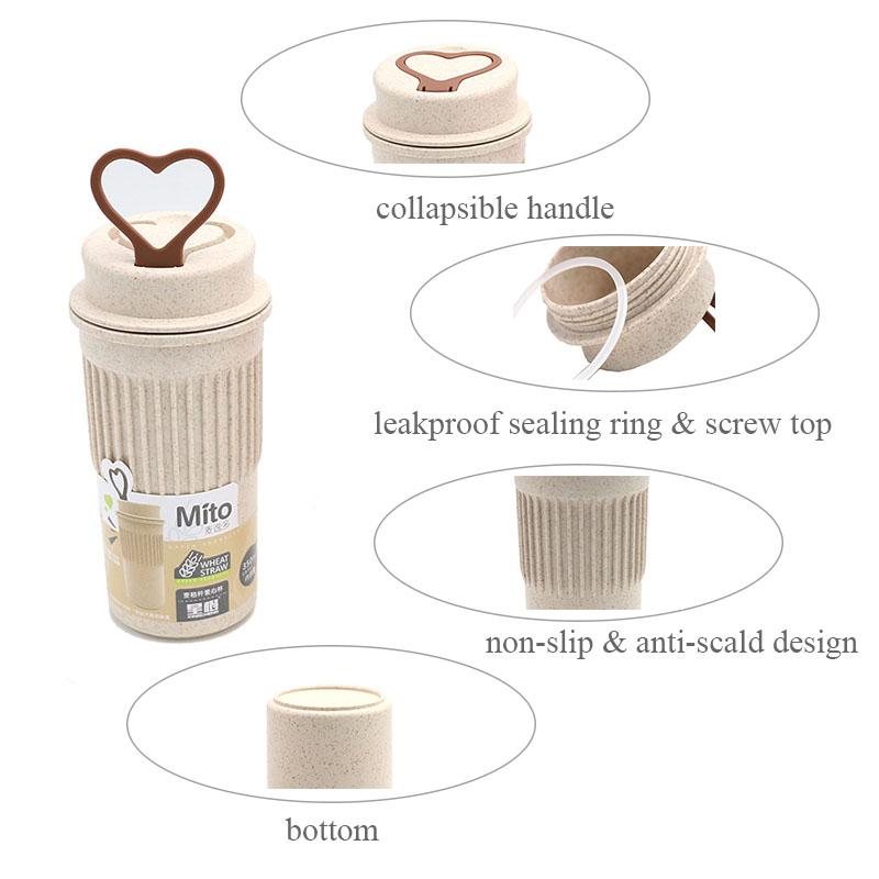 Hot Water Office Coffee Bottle Wheat Straw Plastic Leak-Proof Sports Drink-wares