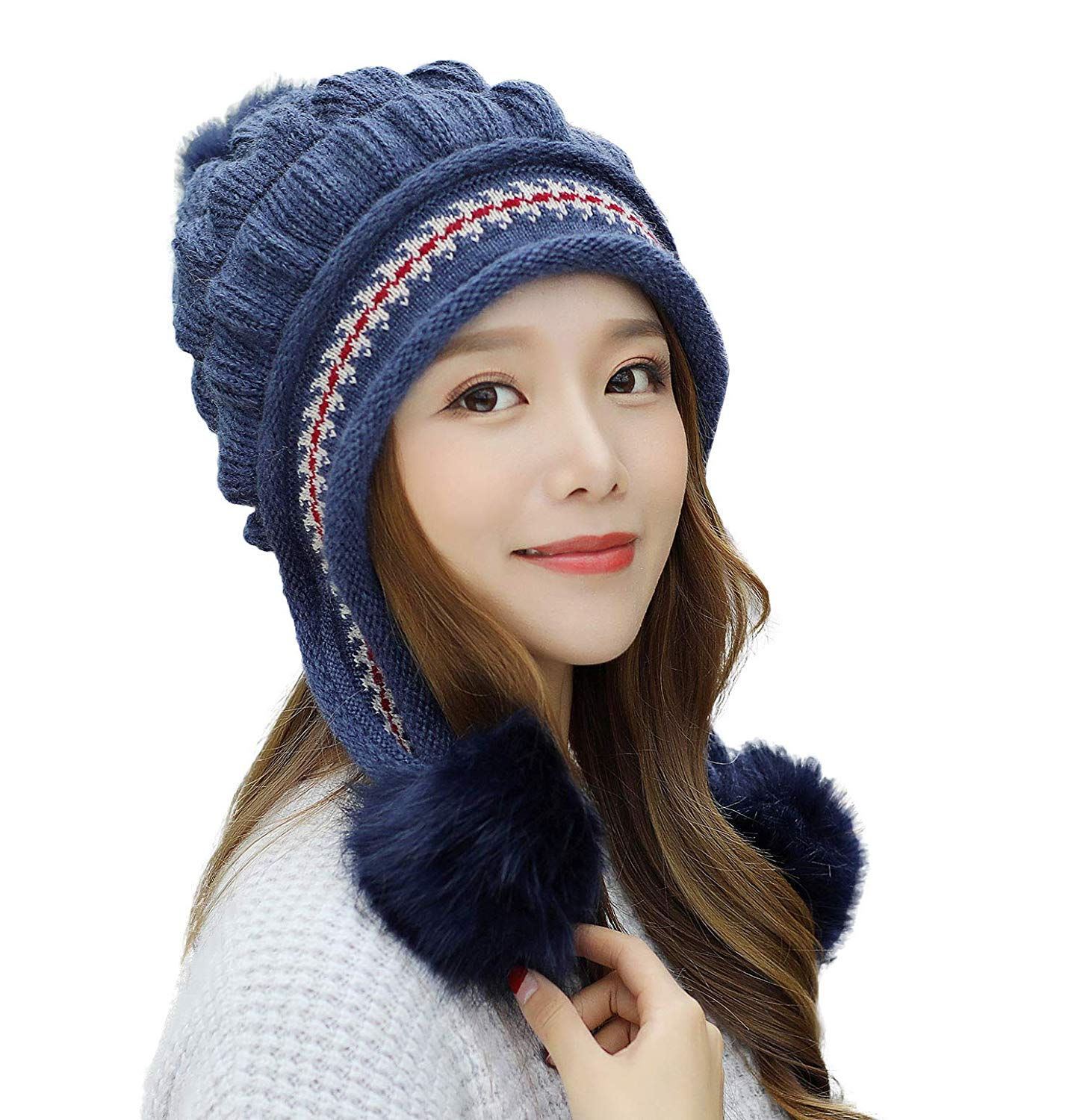 70d1a077ce0c1 Get Quotations · E.Joy Online Women Peruvian Earflap Beanie Hat Knitted Pom Winter  Snow Ski Hat Ladies