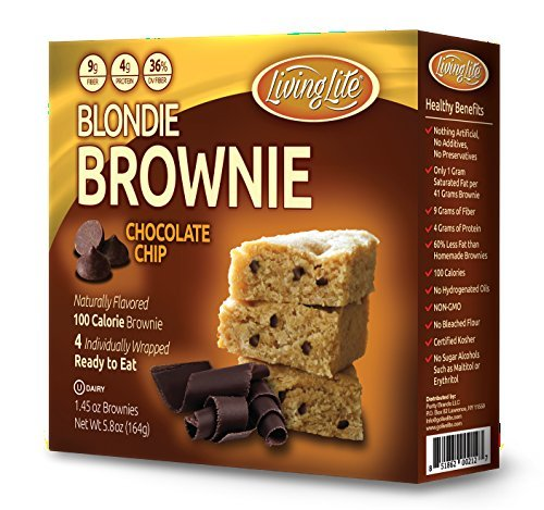 Living Lite Blondie Brownies w/ Chocolate Chips (4 x 1.45 oz. bar, 3-pack), Healthy Breakfast Bar, High-Protein and Fiber Nutritious Energy Bar, Non-GMO, Kosher Snack