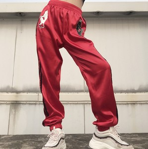 X83693B Latest Devil printed lady satin pants women's casual sport trousers