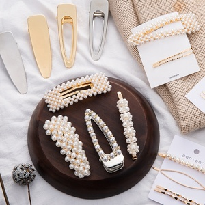 Fashion pearl and Plastic highlight hair clip shiny white pearl with Rhinestone hairpin Amazon hot sale