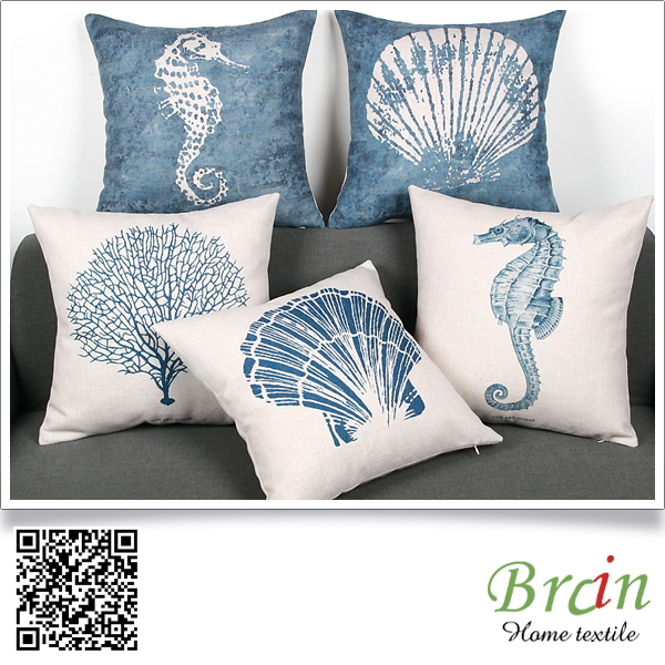 Linen/Cotton Blue ocean custom design cushion cover fabric for sofa and chair
