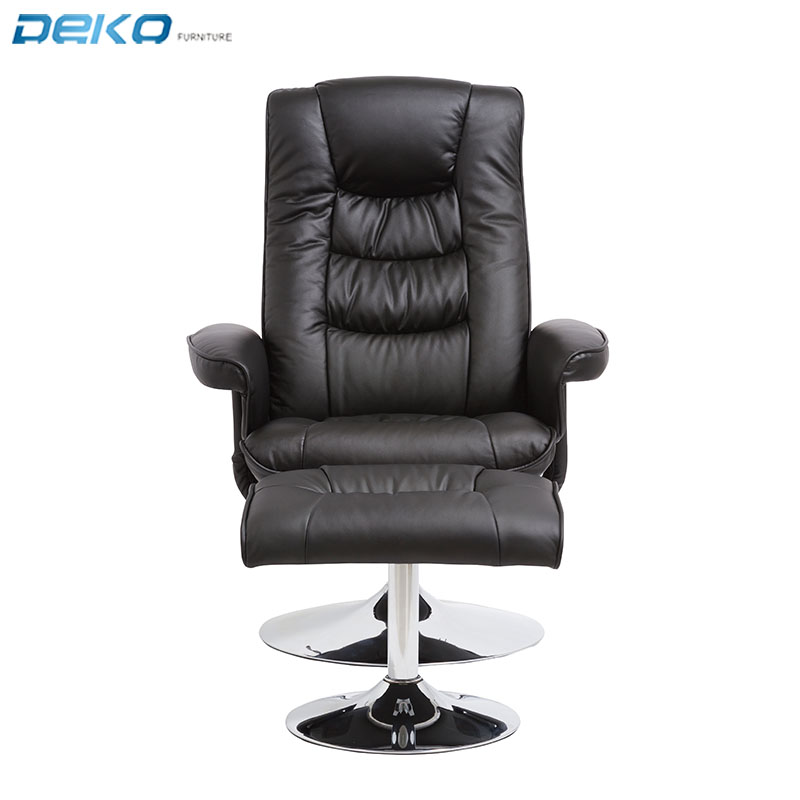 Hot selling living room massage relax chair  recliner chair with ottoman chrome metal base
