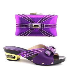 Purple shoes matching bags italian PU leather party shoes low heel shoes and bag set