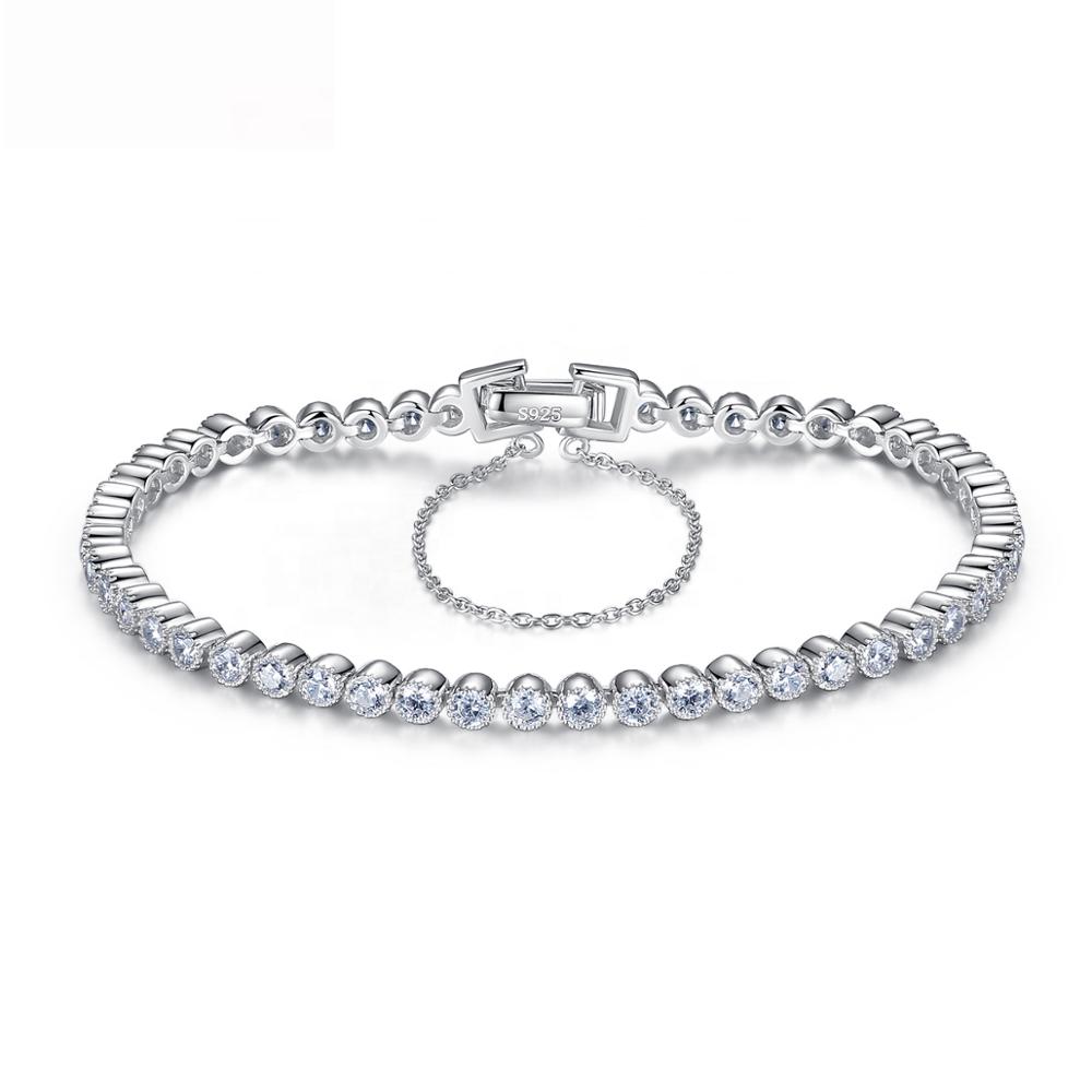 CZCITY Shining Crystal CZ Stone 925 Tennis Bracelets Genuine 925 Sterling Silver Wedding Bracelets & Bangles Gift фото