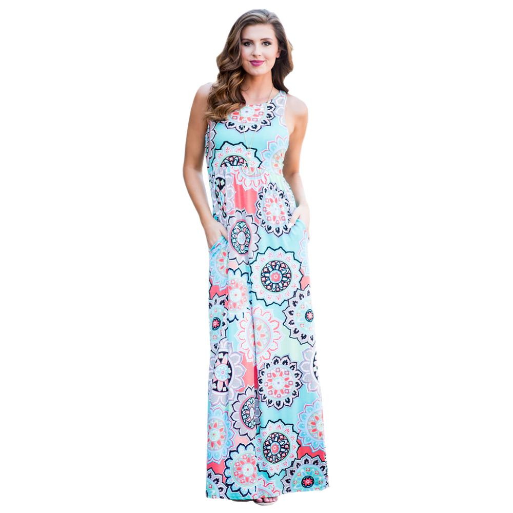 Amazon Hot Sell Women Flower Printed Long Sleeveless Maxi <strong>Dress</strong>