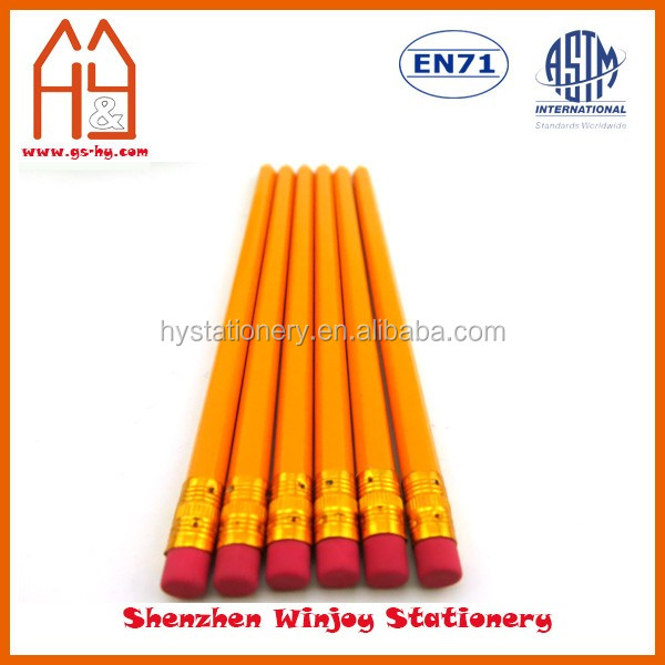 HB lead hexagonal shaped natural wooden pencil, custom yellow No.2 pencil with logo design print