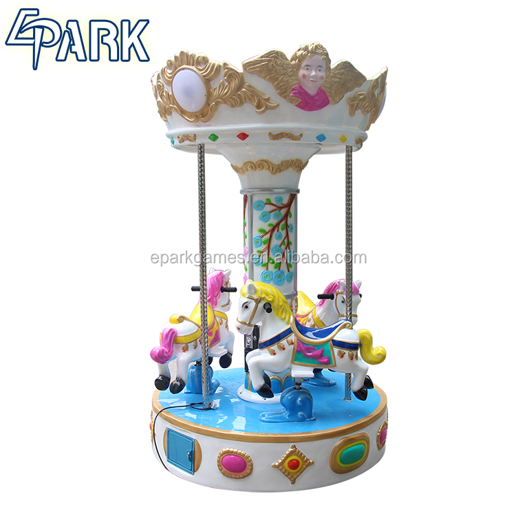 Coin operated small carousel 3 players kiddie rides for sale