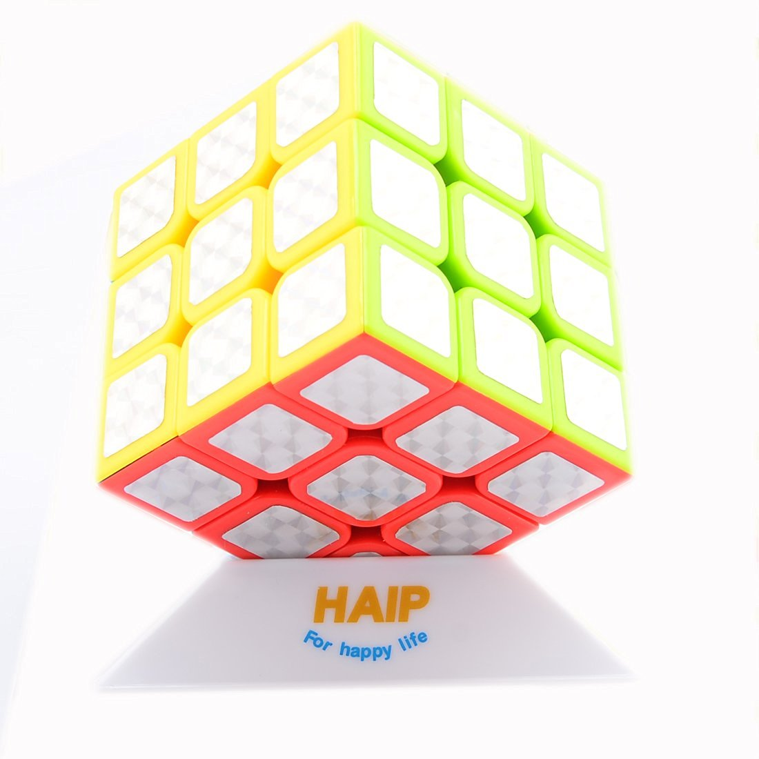 Puzzle Cube, Haip 3x3x3 Sliver Bling Stickers Speed Cube Magic Cube 5.6CM (Base Holder/Bag Included)