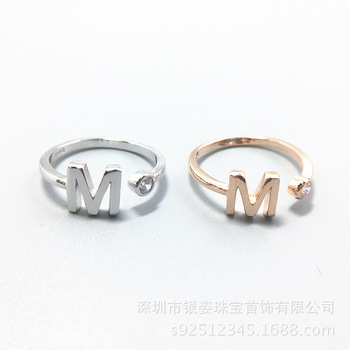 8e8678643 14K gold plating Sterling Silver cubic zirconia customized letter M Ring