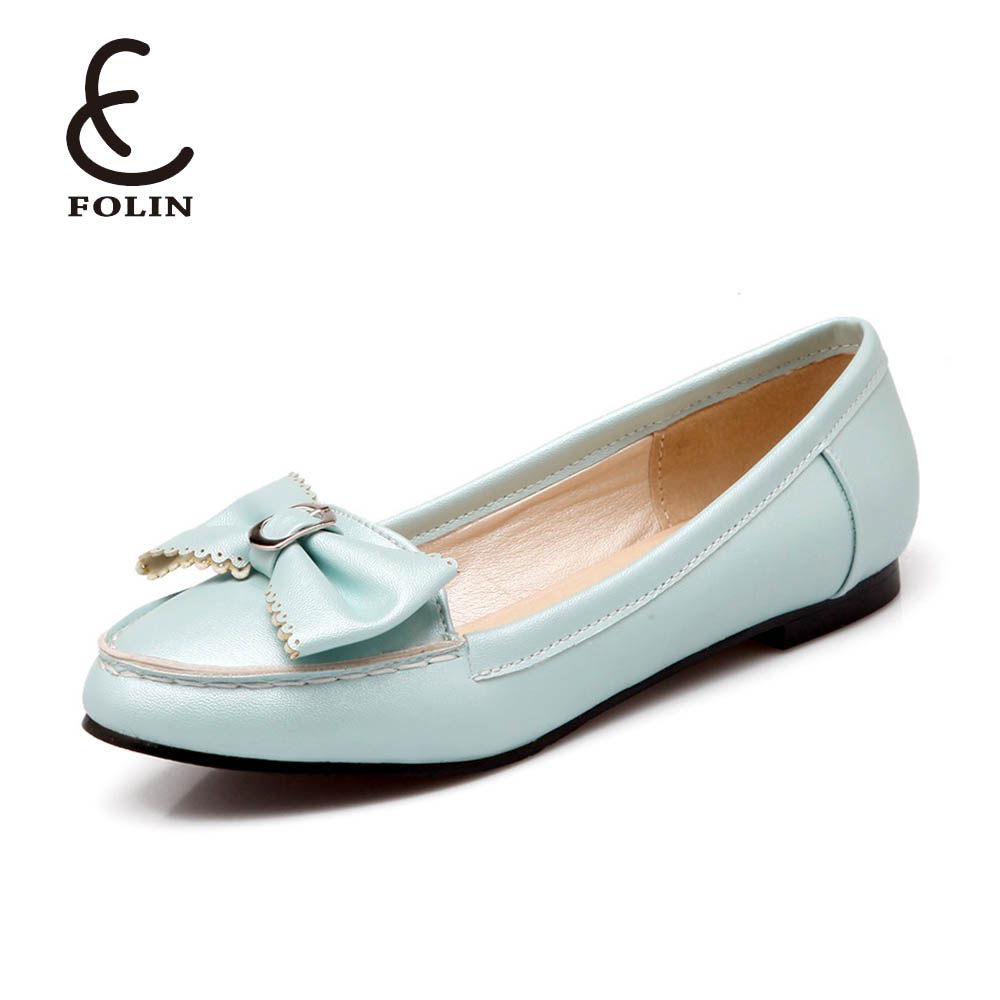 Leather Lady Fashion Cute Bow Knot Office Wear Slip-on Flat shoes ladies Casual Easy Wear Loafers Girl Daily Driving Shoes flat