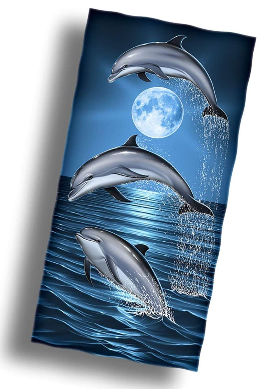 """Custom & Luxurious {36"""" x 58"""" Inch} 1 Single Large & Thin Soft Summer Beach & Bath Towels Made of Quick-Dry Cotton w/ Colorful Basic Ocean Dolphins Lounging Vacation Souvenir Style [Multicolor]"""