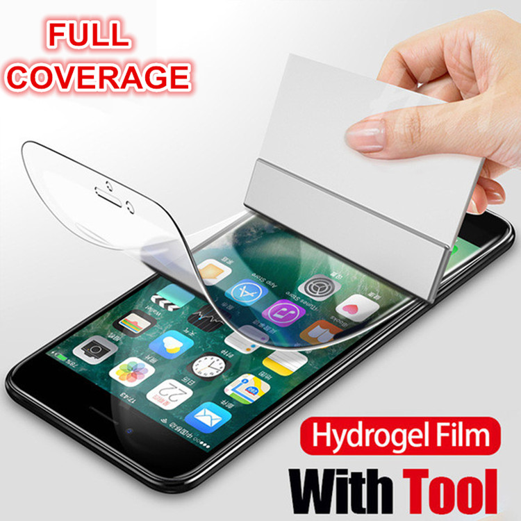 Wholesale 2 pcs Full Coverage Hydrogel Screen Protector for iPhone X Xr xs max 8 7 6s Front and Back Liquid Tempered Glass Film