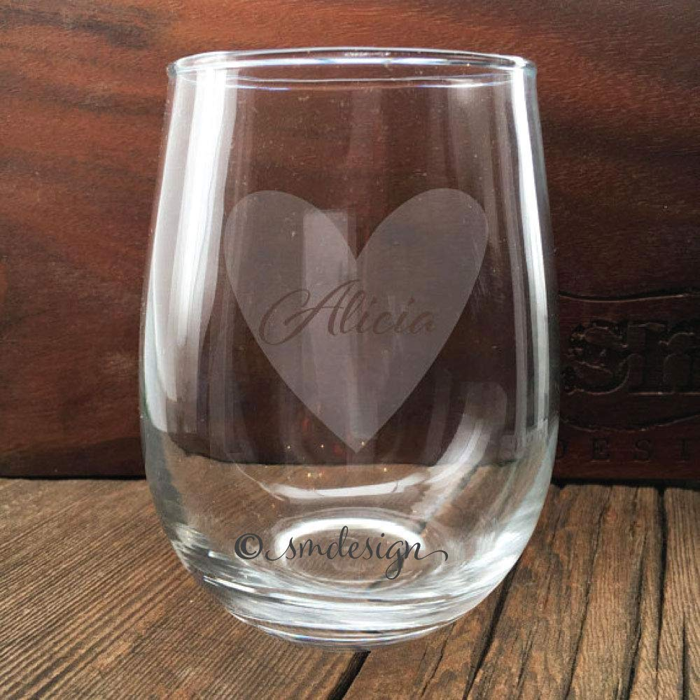 Get Quotations Personalized Name Heart Wine Glass Gift Idea For The Lover Wife