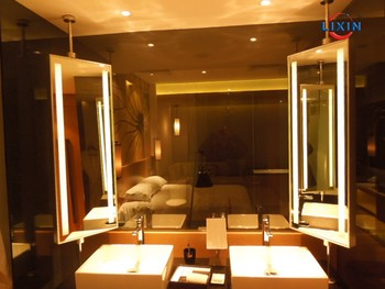 Ceiling Hanging Vanity Hotel Bathroom Led Illuminous Mirror With