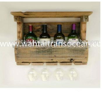 Reclaimed Wood Wine Rack Pallet Bottle