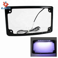 Motorcycle LED Lighting Systems Black Aluminum Curved European Motorcycle License Plate Frame