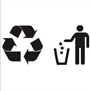 Trash and Recycling Vinyl Sticker Decals for Trash//recycle Bin Can white BFP