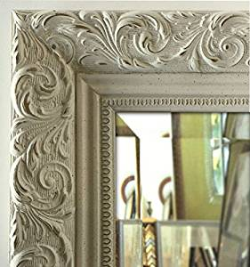 "West Frames Bella Ornate Embossed Antique White Framed Wall Mirror (15.25"" x 18.25"")"