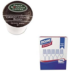 KITDXEFH207GMT6602CT - Value Kit - Green Mountain Coffee Roasters Vermont Country Blend Coffee K-Cups (GMT6602CT) and Dixie Plastic Cutlery (DXEFH207)