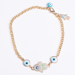 Isamic Theme Chinese Hight Quality Gold Chain Braclets With Hamsa Evil Eye