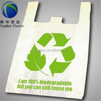 Environmental Compostable Cornstarch Vest Handle Garbage Bag