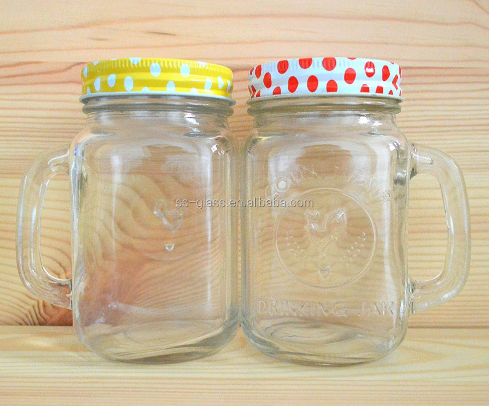 16OZ glass mason jar with handle and cap