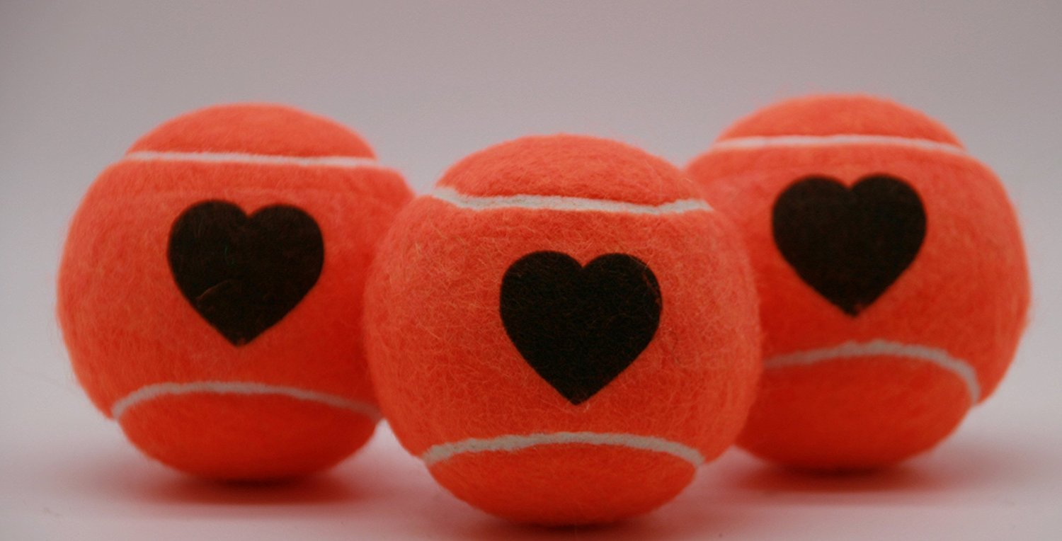 Price's Heart Motif Type 2 Tennis Balls Made in the UK (1 x 3 Ball Tube) Orange, pressureless, durable and long lasting.