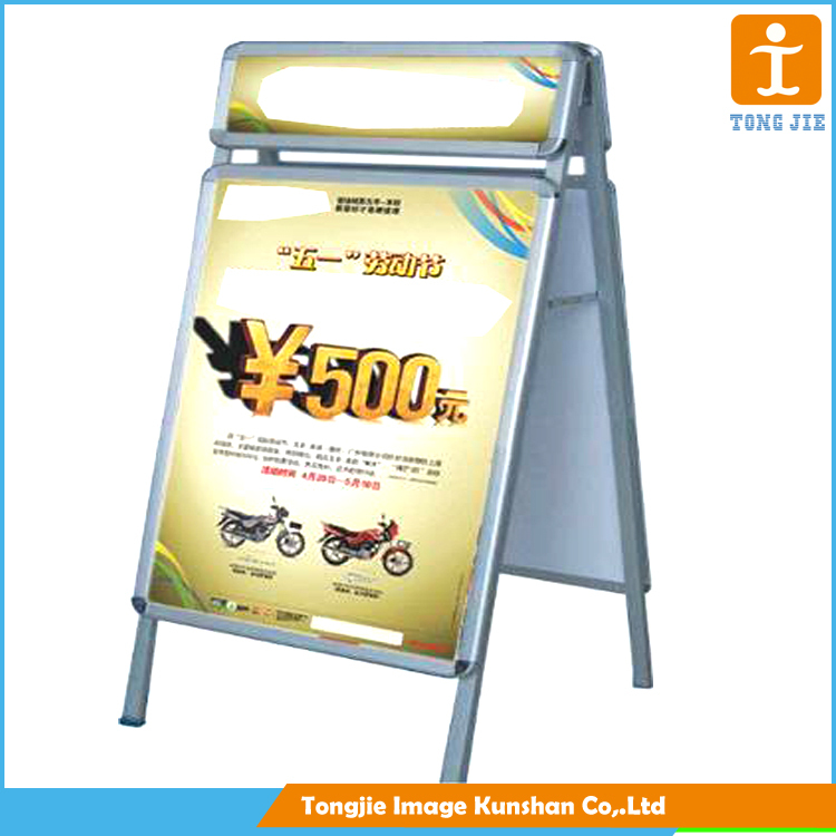 A frame stand banner of portable, laminated poster board