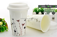 2016 Hot Sale Wholesale Custom Printing Logo Ceramic Travel Mugs with Silicone Lid