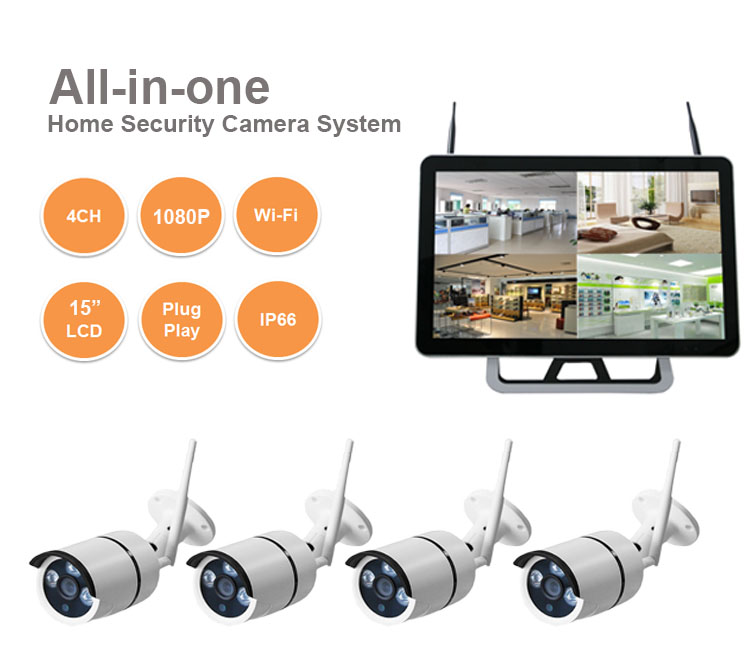 "HCVISION 15""LCD Monitor 2MP Wifi NVR Best Wireless Home CCTV 4 Camera Security System"