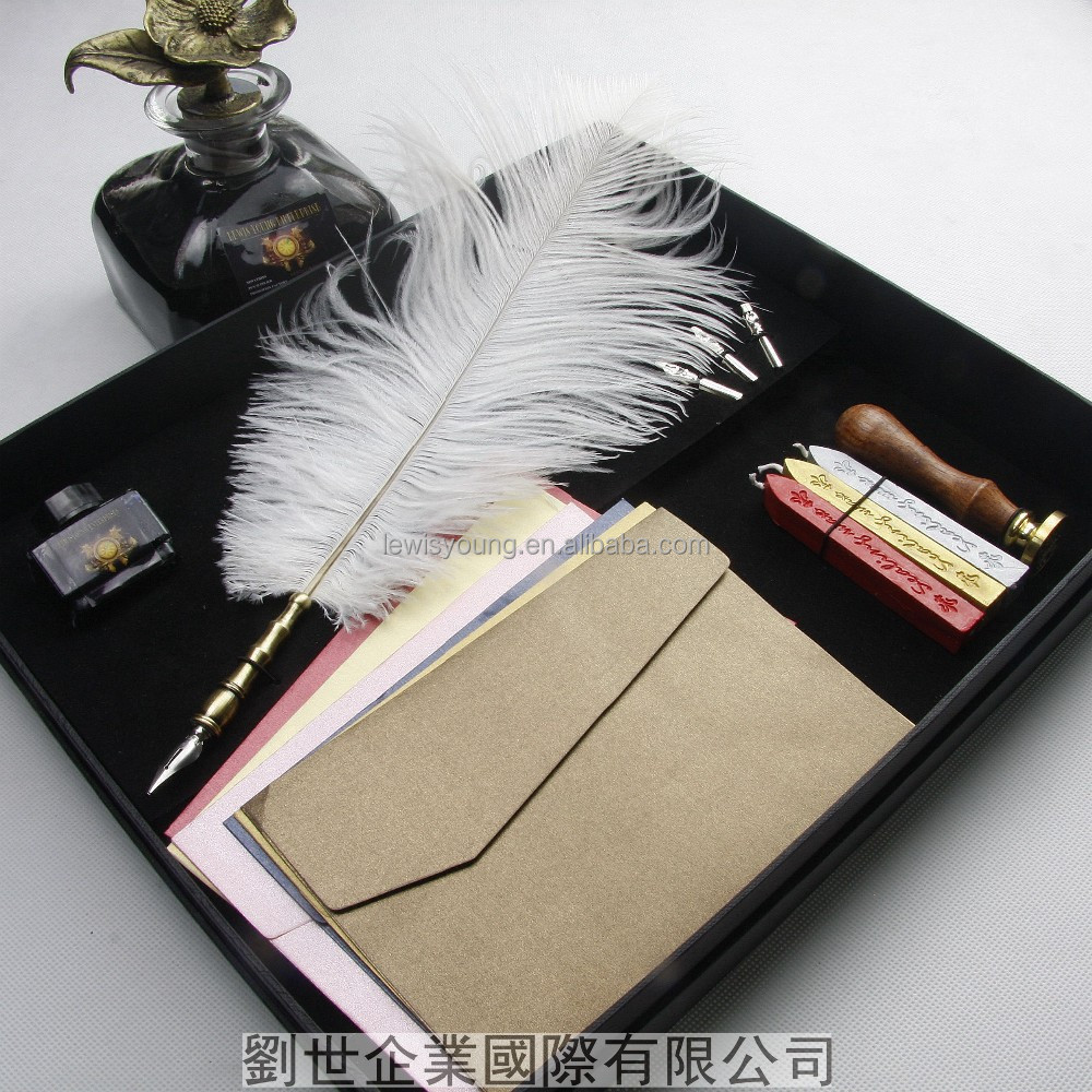 Gift Box Metal Curved Natural Ostrich Feather Pen Set with 5 nibs,Stamp,Wax Quill Signature Pen