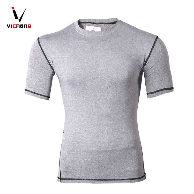 Made In China OEM sportswear compression streched exercise fitness tshirt men