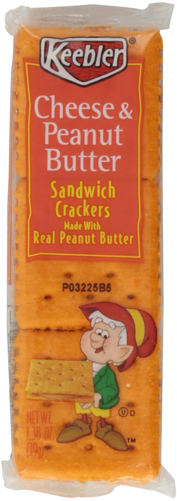 Keebler Sandwich Crackers, Cheese & Peanut Butter, 1.38 oz. 8-Count (Pack of 6)