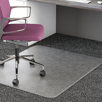 Dual Purpose Office Chair Plastic Floor Mat For Low Pile Carpet