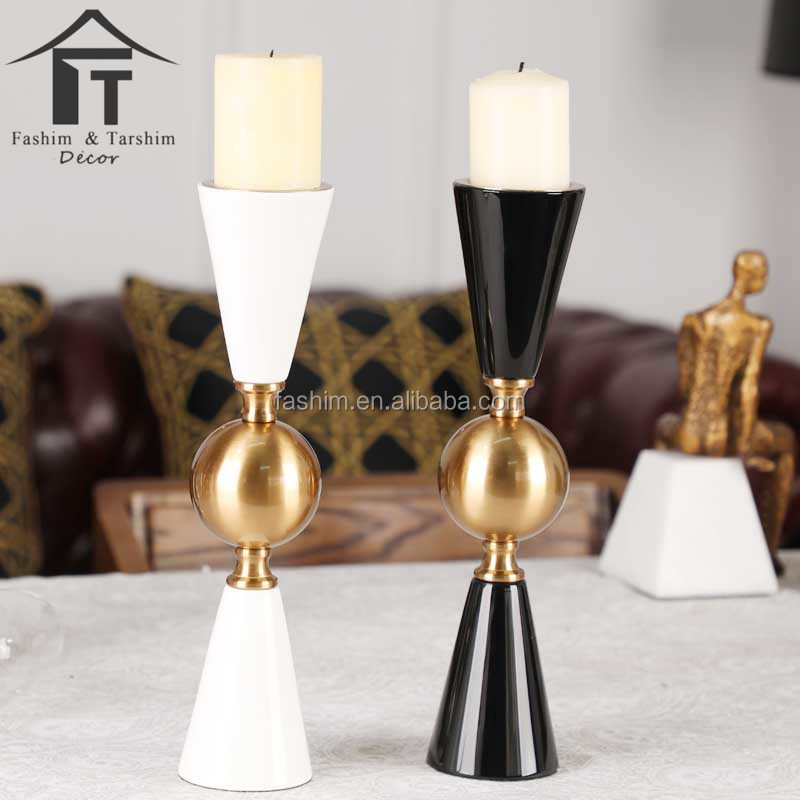 Gold and black wedding centerpiece candle holder gold plated candlesticks