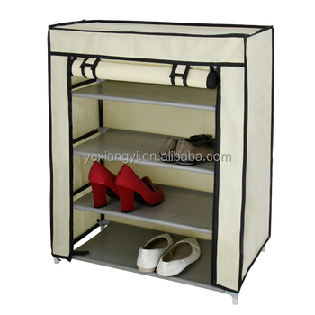 Portable Shoe Cabinet Storage Organizer Rack 4 Tiers With Dust Cover Part 43