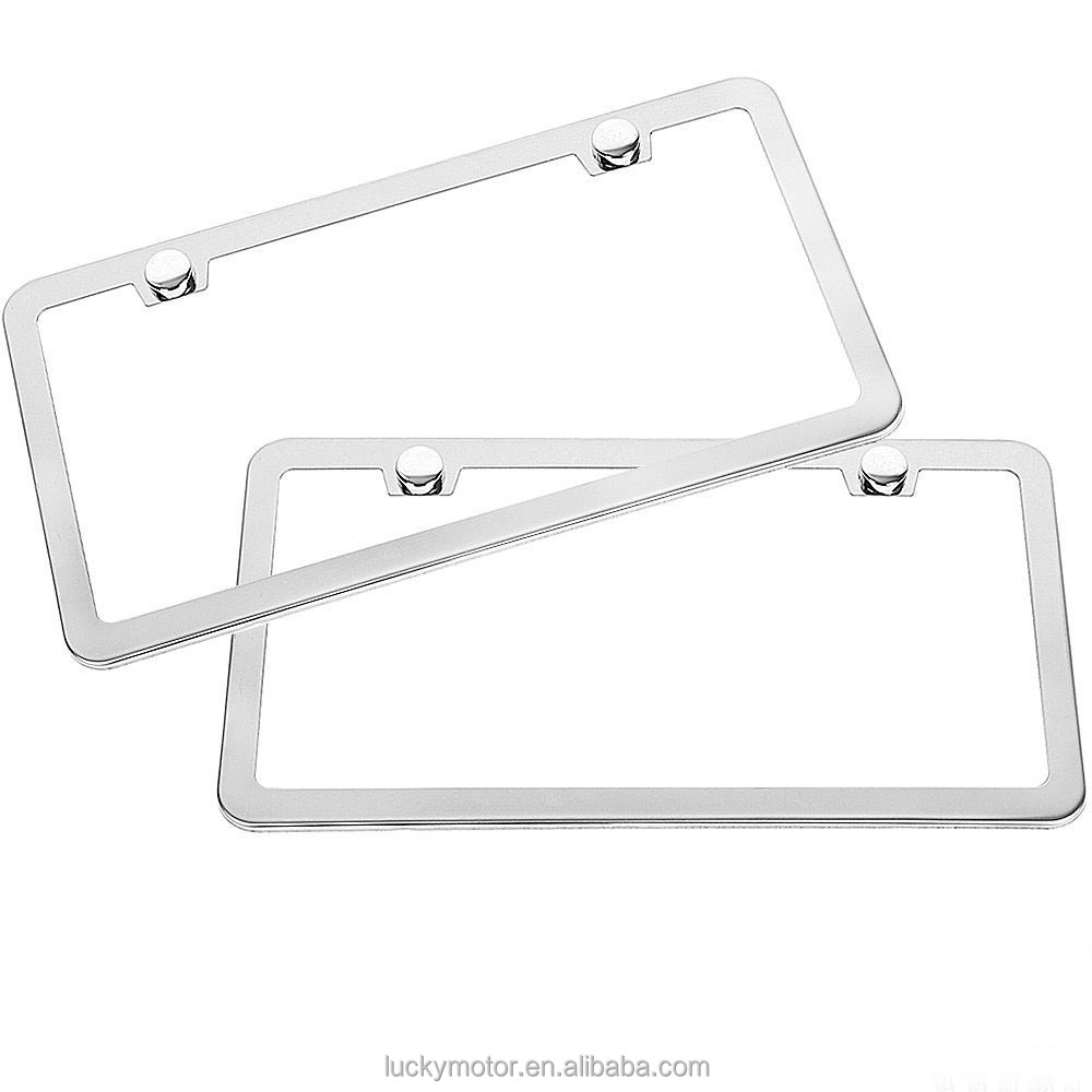 2 stks/partij ONS Standaard Auto Nummerplaat Frame Rvs Chrome Plaat Tag Cover met Schroef Caps Amerika Auto styling