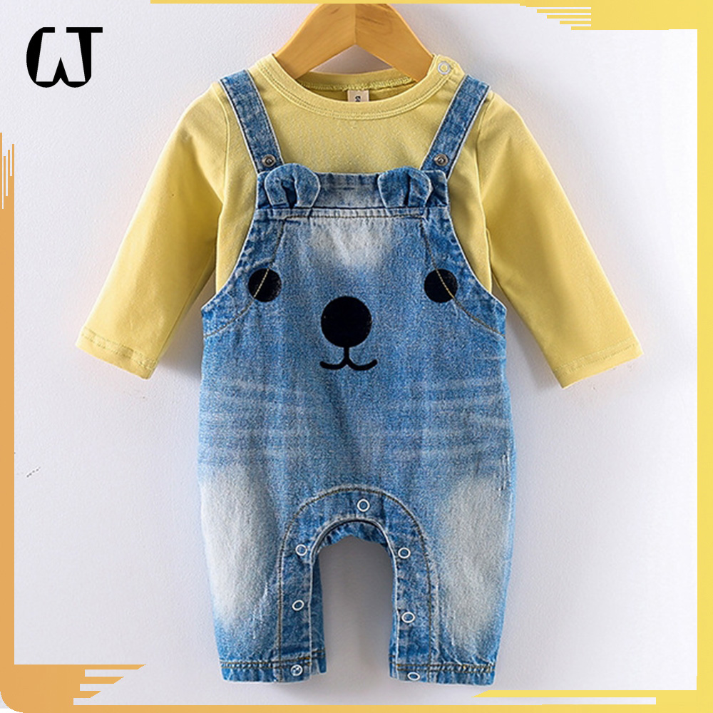 F3717#cartoon baby outfit boutique fashion nova clothing baby clothes girls boys Cowboy Unisex denim rompers jeans wholesale