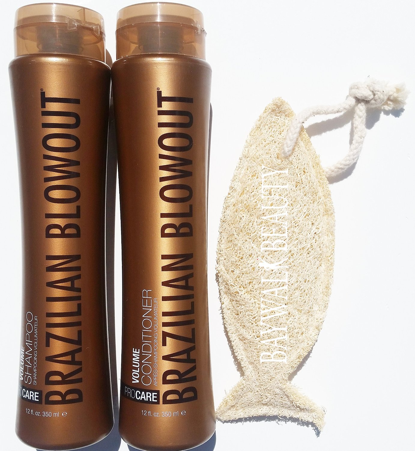 Brazilian Blowout PROCARE Volume Shampoo & Conditioner 350ml/12oz Duo Set With FREE Natural Loofah (Shapes May Vary)