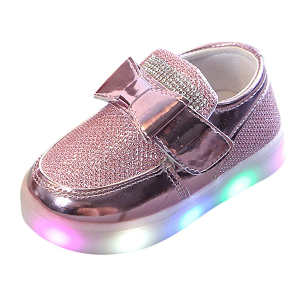Baby Boys Girls Sport Bowknot Crystal Mesh Led Light Luminous Casual Shoes,Outsta Infant Kids Soft Sole Anti-Slip Shoes