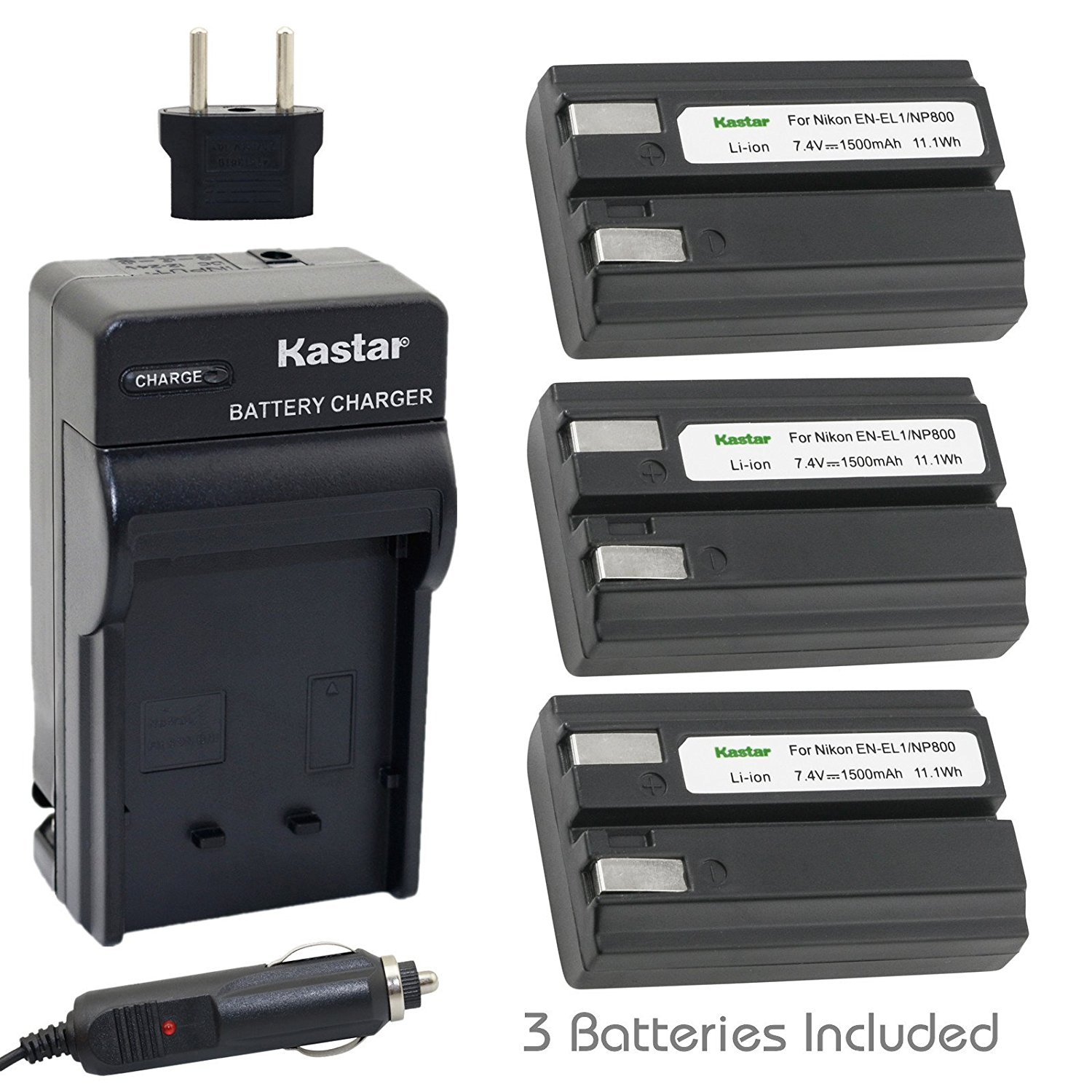 US plug COOLPIX 8700 5700 5400 5000 4800 4500 4300 995 885 880 775 with car adapter DC09 Battery Charger Compatible with Nikon MH-53 for EN-EL1