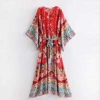 X65454A New Fashion Women Sexy Long Dress Deep V Neck Beach Dress