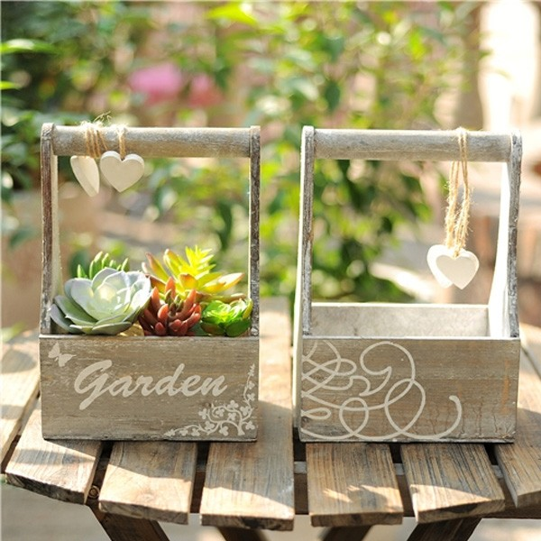 Custom decoratie houten planter box succulenten potten met handvat