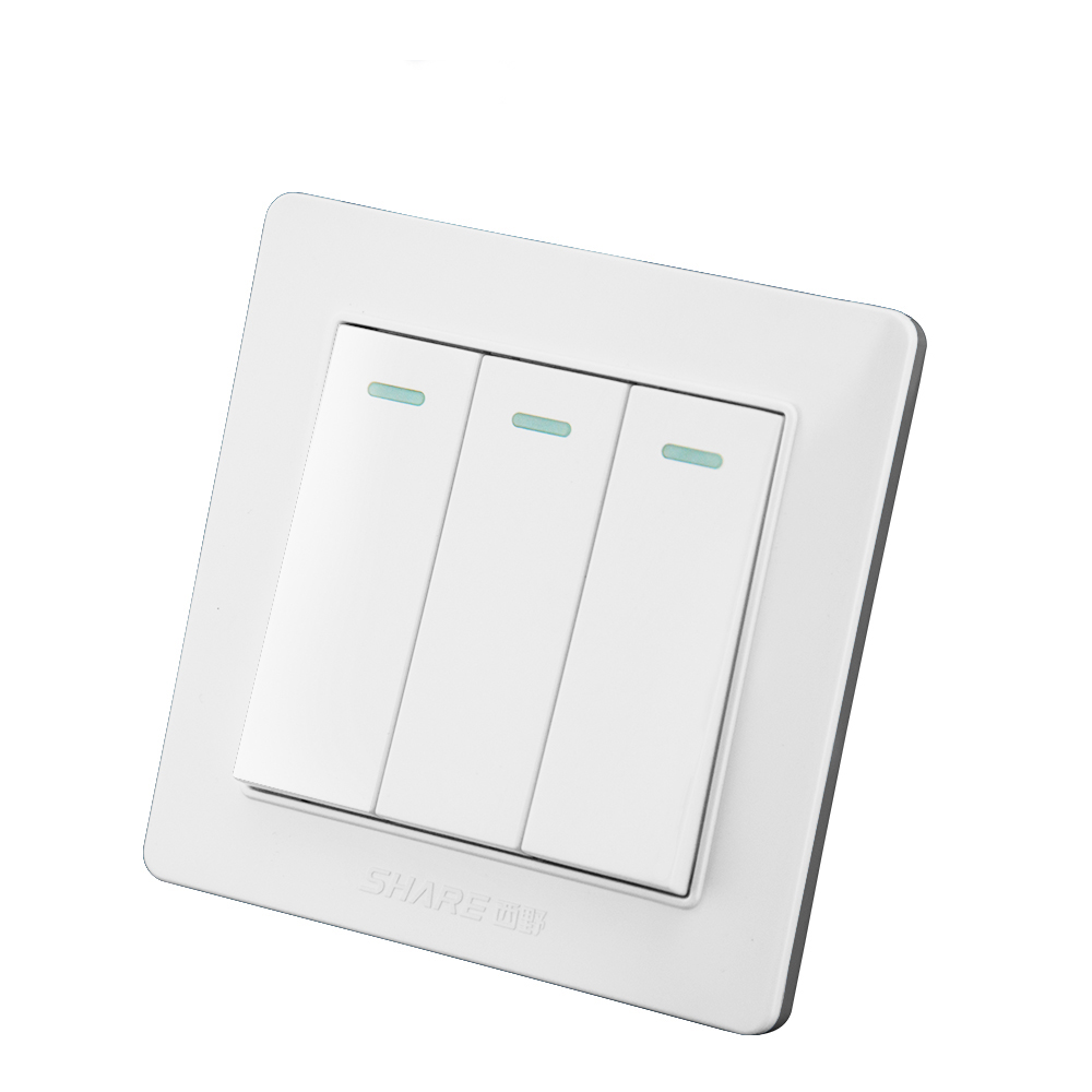 SHARE new design 16a 3 gang 2 way light <strong>switch</strong> for residential/ hotel 86*86 mm