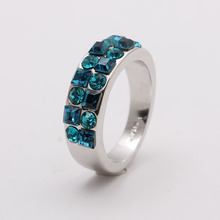 <span class=keywords><strong>여성</strong></span> 흰 금 Blue Crystal Rings Design 대 한 Women Jewelry 도매