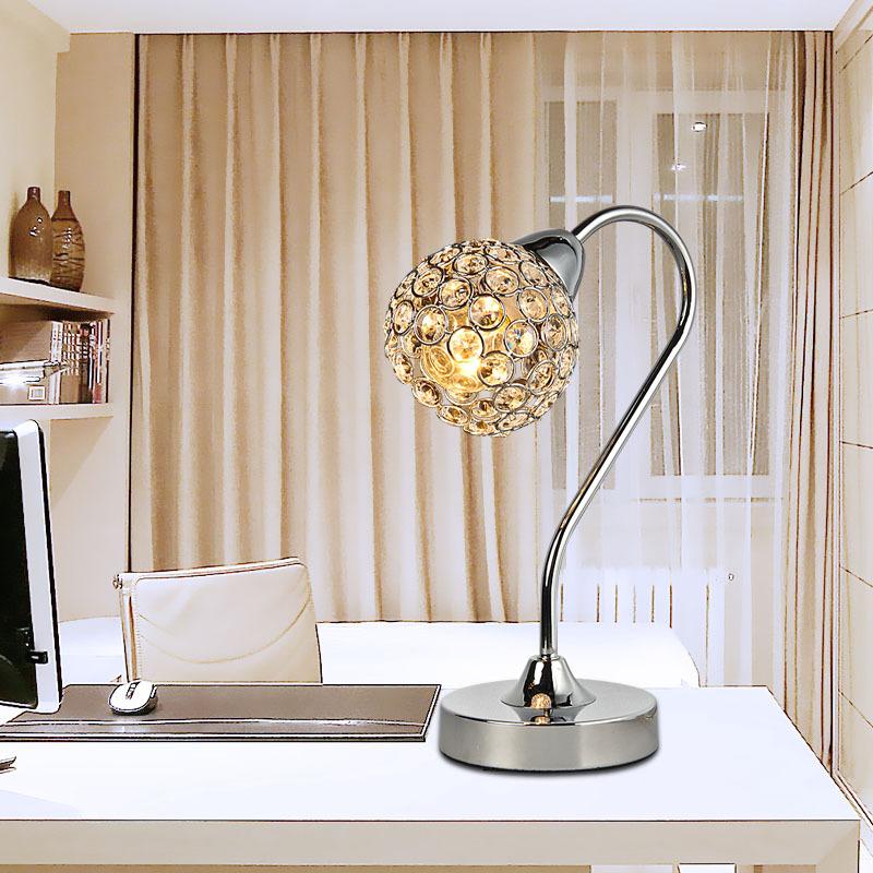 Small size modern crystal insert ball polish chrome base - Elegant table lamps for living room ...