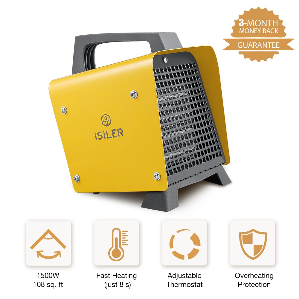 Portable Space Heater, iSiLER 1500W Mini Ceramic Heater with Adjustable Thermostat, Hot & Cool Fan Indoor Heater with Overheating Protection for Table Desk Floor Office Home Use